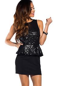 So Posh Black Sequin Mesh Peplum Dress