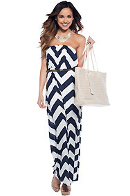 Navy and White Nautical Chevron Maxi Dress
