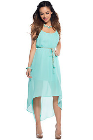 """Leona"" Turquoise Simple Belted High Low Maxi Dress"