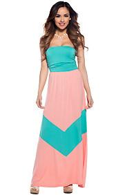Cute Coral and Mint Tube Chevron Maxi Dress