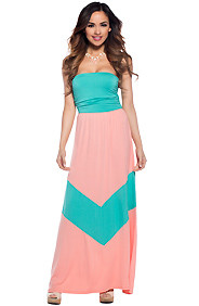 Cute Coral and Mint Tube Chevron Maxi Dress