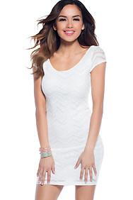 The Leah White Classy Zig-Zag Print Dress