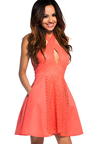 Cute Coral Crochet Dress