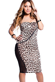 Strapless Leopard Dress with Mesh Side Slit