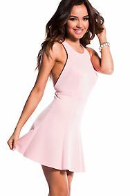 Blush Pink Scuba Flare Dress with X-Back Cut-Out Dress