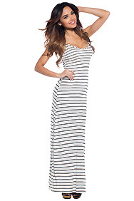Back to Basic's Ivory Striped V-Neck Maxi Dress