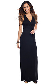 The Mia Sexy Black V-Cut Maxi Dress