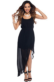 Amy A-Symmetrical Simple Black Maxi Dress