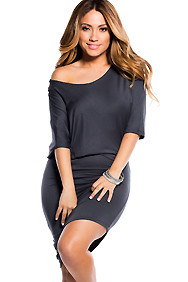 """Courtney"" Grey Sexy Off the Shoulder T-Shirt Dress"