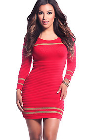 Red Scoop Neck Gold Stripe Bandage Dress