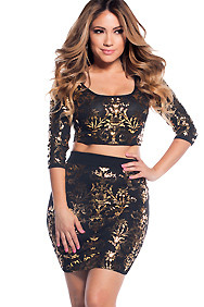 Shiny Gold Foil Print Two Piece Set
