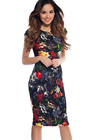 Black and Multi-Colored Floral Pattern Midi Mesh Cut-Out Dress