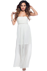 Grecian Goddess Strapless Long Creme Dress