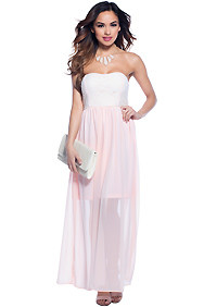 Baby Pink Love Story Strapless Long Maxi Dress