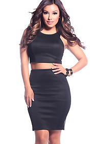 Black Curve Defining Fish Net Overlay Two Piece Set