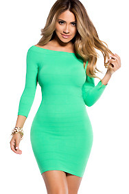 Simple Green Bodycon Off The Shoulder Mini Dress