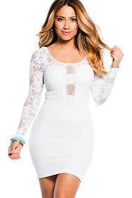 White Floral Fishnet Cut-Out Mini Dress