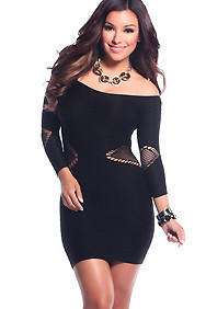 Bold Black Body Con Side and Arm Cut-Outs 3/4 Sleeves Dress