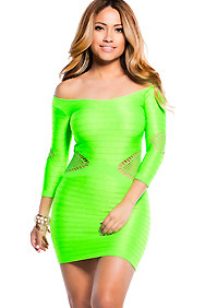 Neon Green Body Con Side and Arm cut-outs 3/4 sleeves Dress