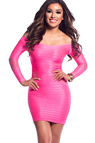 Candy Coral Body Con Side and Arm cut-outs 3/4 sleeves Dress