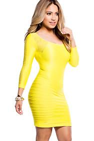 Yellow Back Key-hole Fishnet Body Con Dress