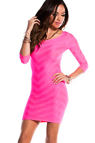 Nea Neon Pink Textured 3/4 Sleeve Body Con Key-hole Back Dress