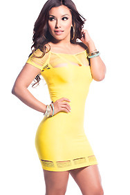 Yellow Web Cut-outs Body Con Off the Shoulder Stretchy Dress
