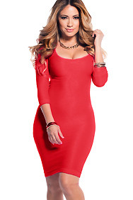 Sexy Red Scoop Neck 3/4 Sleeve Knee Length Bodycon Dress