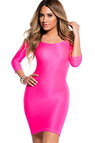 Sexy Neon Pink Scoop Neck 3/4 Sleeve Bodycon Dress