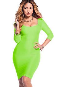 Sexy Neon Green Scoop Neck 3/4 Sleeve Bodycon Dress