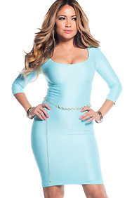 Sexy Sky Blue Scoop Neck 3/4 Sleeve Bodycon Dress