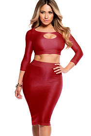 Sexy Red Reversible Keyhole Crop Top and Midi Skirt Set
