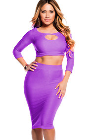 Sexy Neon Purple Reversible Keyhole Crop Top and Midi Skirt Set