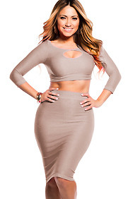 Sexy Nude Beige Reversible Keyhole Crop Top and Midi Skirt Set
