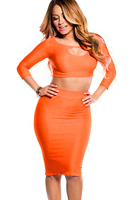 Sexy Neon Orange Reversible Keyhole Crop Top and Midi Skirt Set