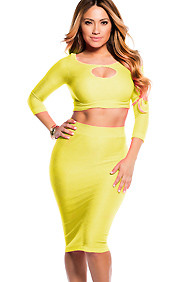 Sexy Neon Yellow Reversible Keyhole Crop Top and Midi Skirt Set