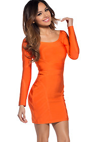 Sleek Orange Long Sleeve Bandage Dress