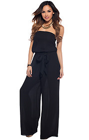 Sleek Black Strapless Jumpsuit