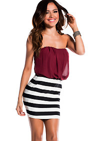 The Tess Maroon Tube Dress with Black and White Stripes