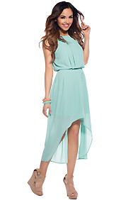 Springtime Mint High Low Dress