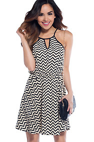 Caramel Latte Creme & Black Chevron Dress