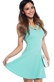 The Esmeralda Emerald Mint Cut-out Skater Dress