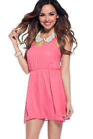 Summer Sensation Coral Cinched Waist Dress