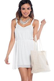 Summer Sensation White Cinched Waist Dress