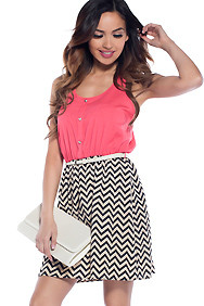 Watermelon Wave Coral With Chevron Skirt Skater Dress