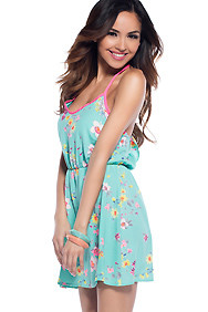 Summer Blossoms Mint Floral Sundress