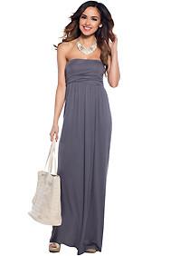 """Kailani"" Gray Tube Top Maxi Dress"