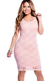 Peach Floral Lace Pattern Midi Dress