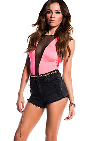 Hot Pink Deep V-Neck Plunge Cut-Out Sleeveless Bodysuit
