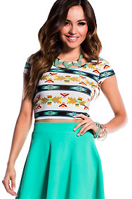Teal and Orange Aztec Crop Top